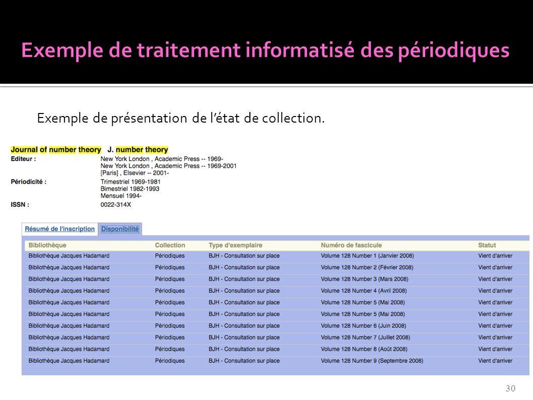 Exemple de traitement informatisé des périodiques