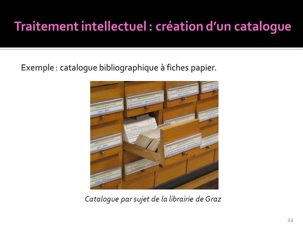 Traitement intellectuel : création d'un catalogue