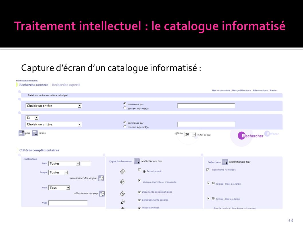 Traitement intellectuel : le catalogue informatisé