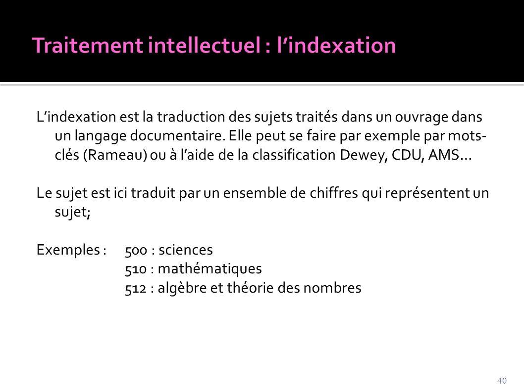 Traitement intellectuel : l'indexation