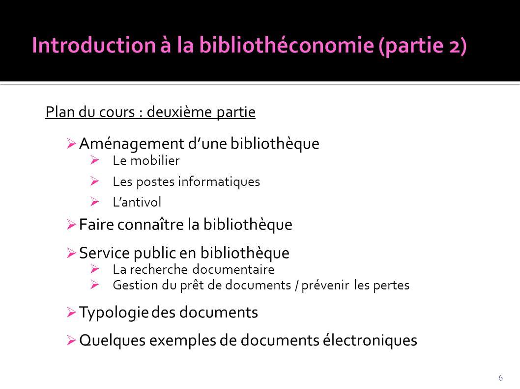 Introduction à la bibliothéconomie (partie 2)