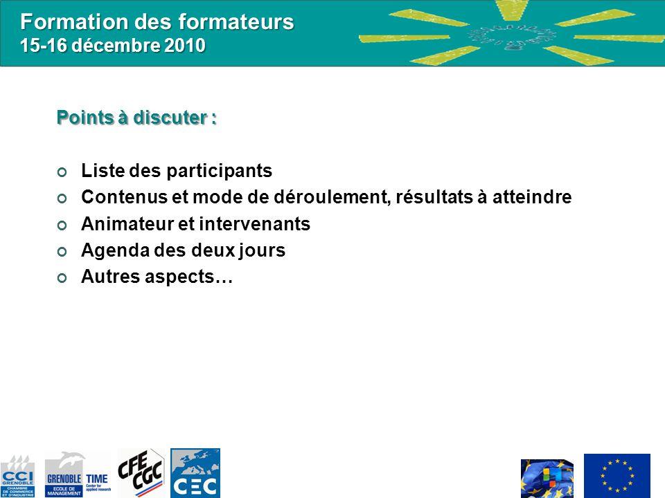 Formation des formateurs 15-16 décembre 2010