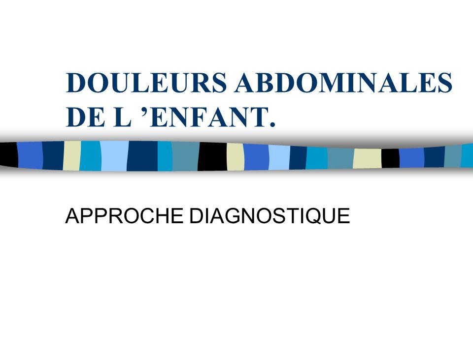DOULEURS ABDOMINALES DE L 'ENFANT.
