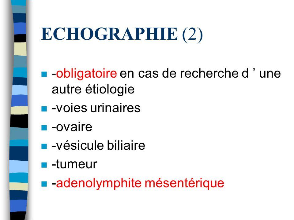 ECHOGRAPHIE (2) -obligatoire en cas de recherche d ' une autre étiologie. -voies urinaires. -ovaire.
