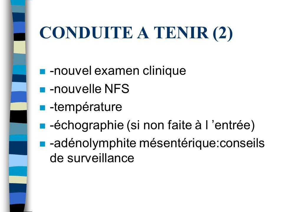CONDUITE A TENIR (2) -nouvel examen clinique -nouvelle NFS