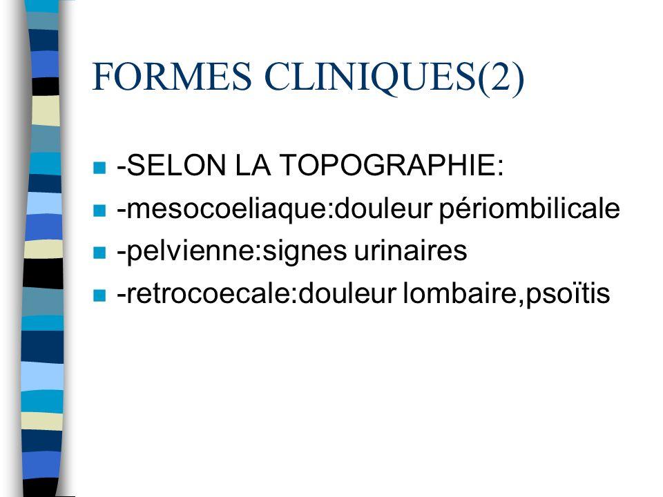 FORMES CLINIQUES(2) -SELON LA TOPOGRAPHIE: