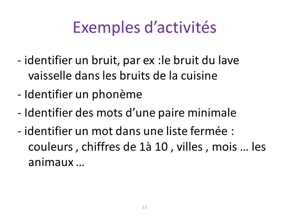 L education auditive definitions les etapes menant a la - Un bruit dans la cuisine ...