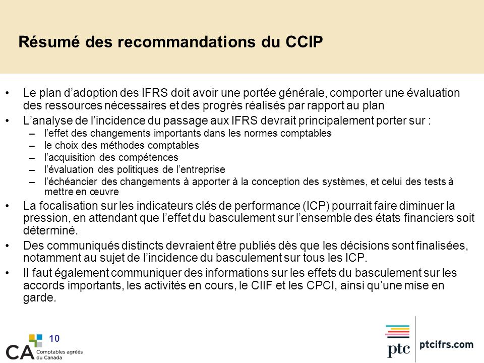 Résumé des recommandations du CCIP
