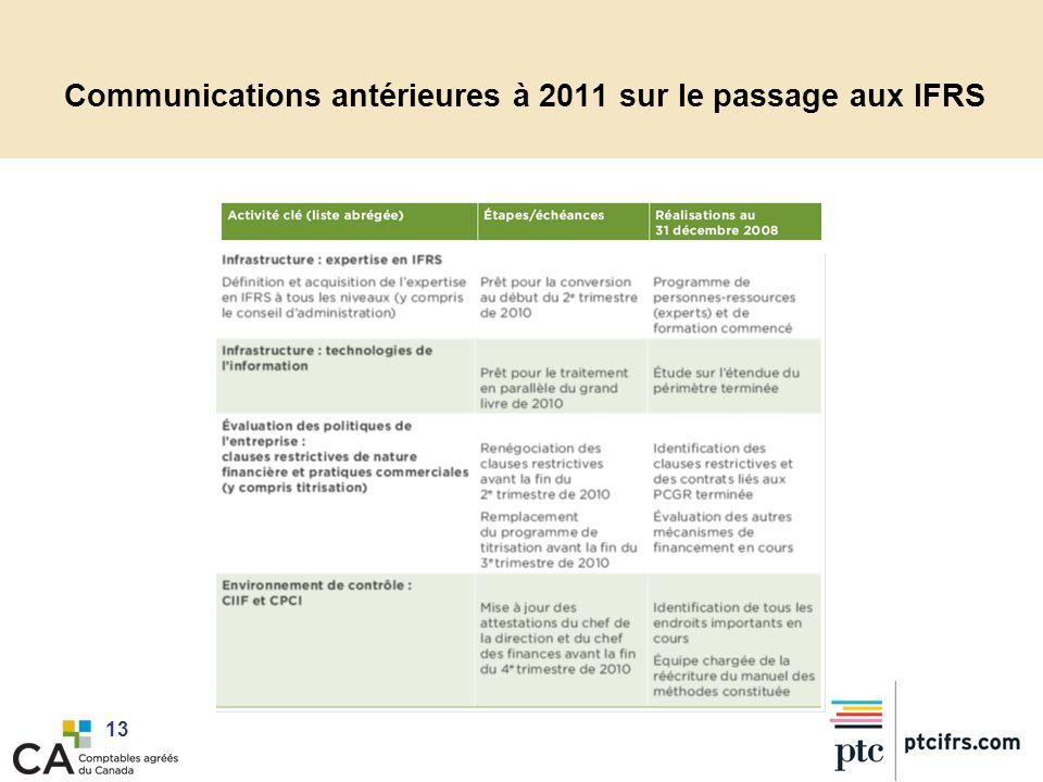 Communications antérieures à 2011 sur le passage aux IFRS