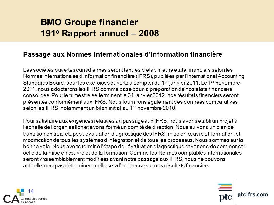 BMO Groupe financier 191e Rapport annuel – 2008