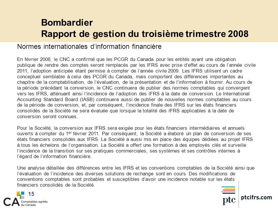 Bombardier Rapport de gestion du troisième trimestre 2008