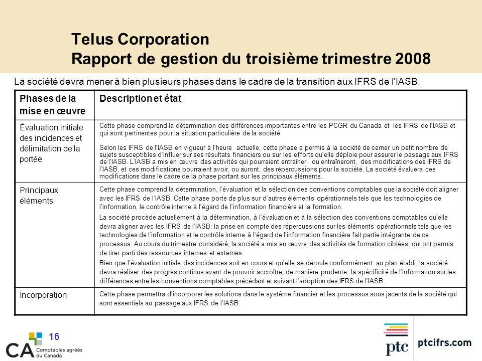 Telus Corporation Rapport de gestion du troisième trimestre 2008