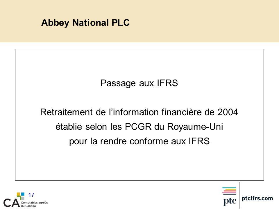 Retraitement de l'information financière de 2004