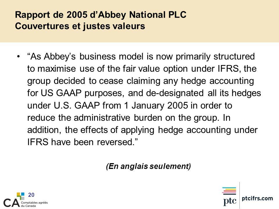 Rapport de 2005 d'Abbey National PLC Couvertures et justes valeurs