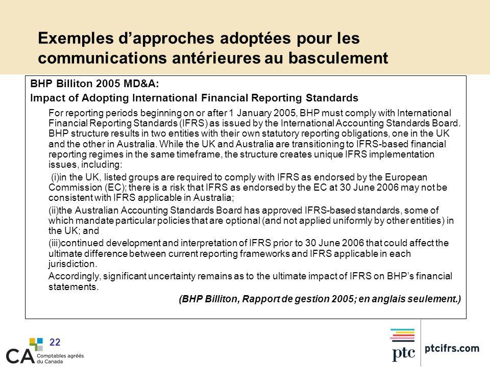 Exemples d'approches adoptées pour les communications antérieures au basculement