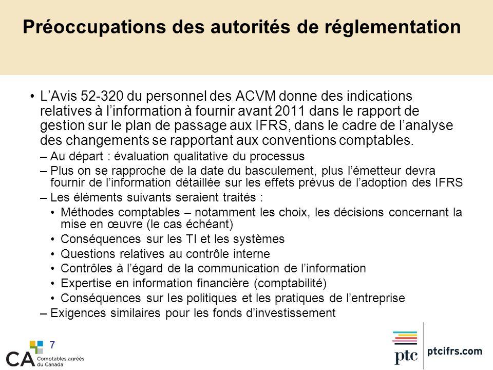 Préoccupations des autorités de réglementation