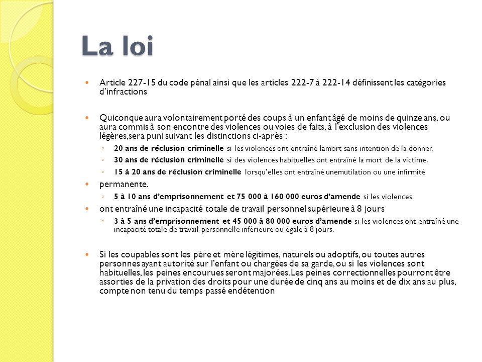 Maltraitance et enfants en danger item ppt t l charger - Coups et blessures volontaires code penal ...