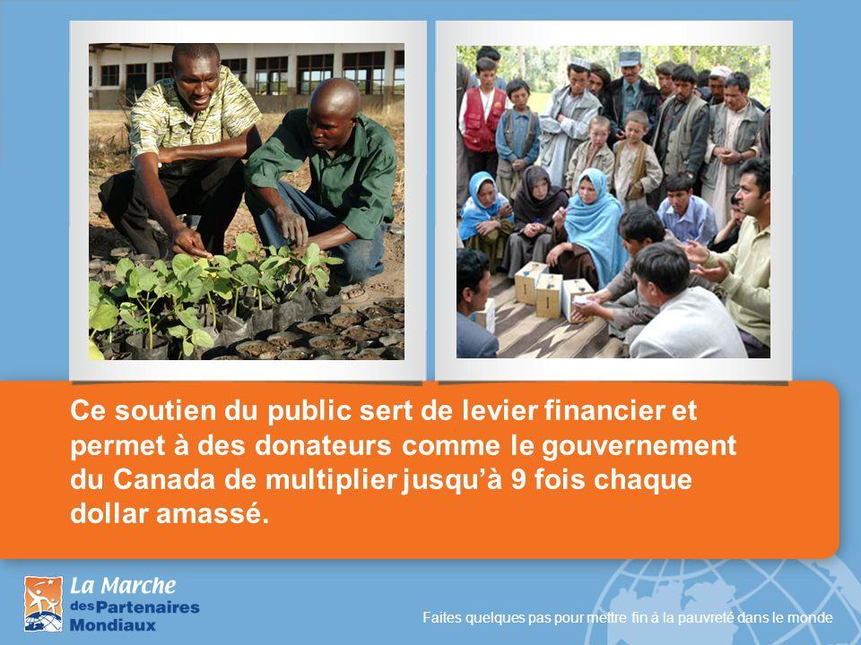 Ce soutien du public sert de levier financier et permet à des donateurs comme le gouvernement du Canada de multiplier jusqu'à 9 fois chaque dollar amassé.