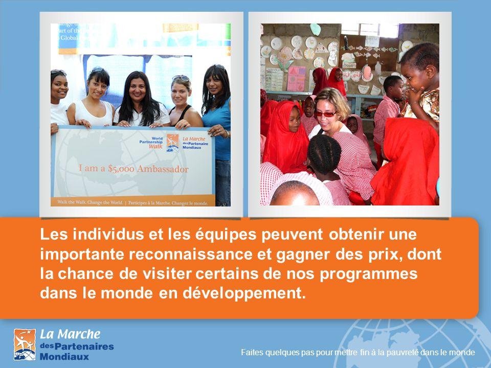 Les individus et les équipes peuvent obtenir une importante reconnaissance et gagner des prix, dont la chance de visiter certains de nos programmes dans le monde en développement.