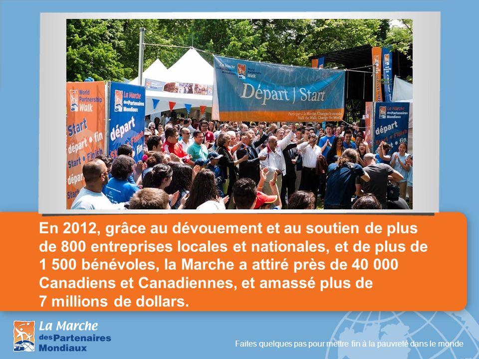 En 2012, grâce au dévouement et au soutien de plus de 800 entreprises locales et nationales, et de plus de 1 500 bénévoles, la Marche a attiré près de 40 000 Canadiens et Canadiennes, et amassé plus de 7 millions de dollars.