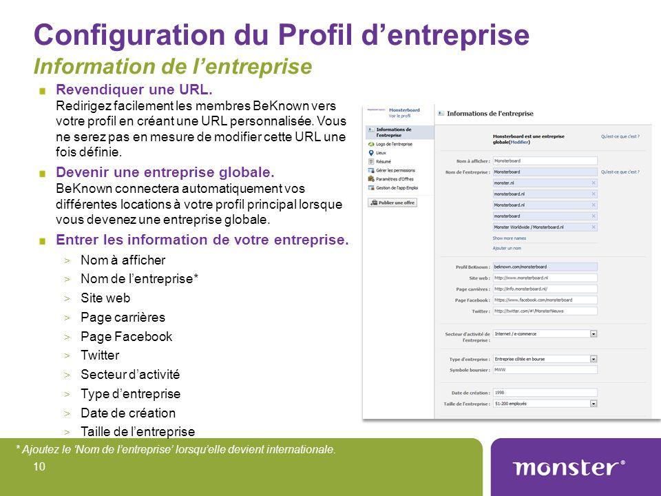 Configuration du Profil d'entreprise Information de l'entreprise