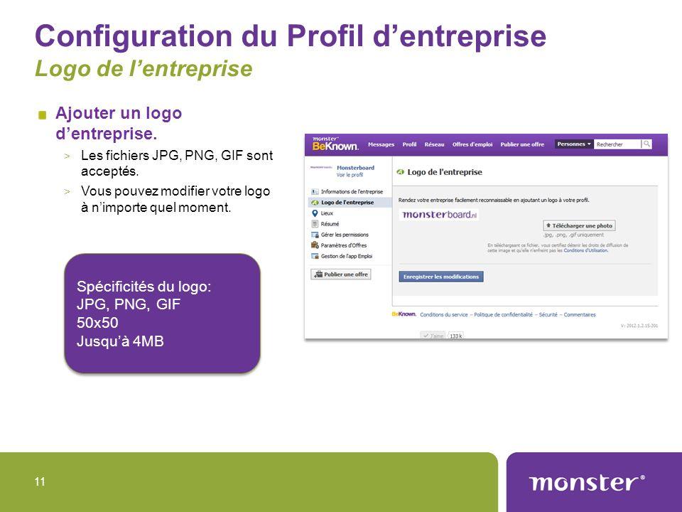 Configuration du Profil d'entreprise Logo de l'entreprise