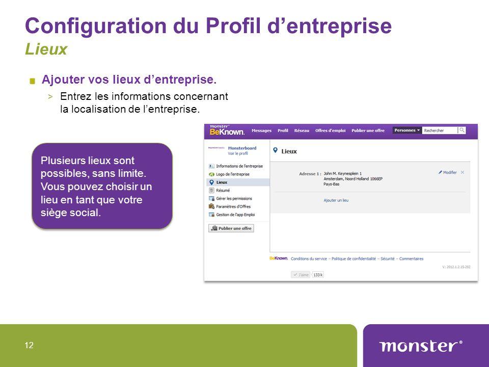 Configuration du Profil d'entreprise Lieux