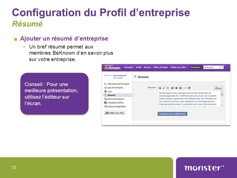 Configuration du Profil d'entreprise Résumé