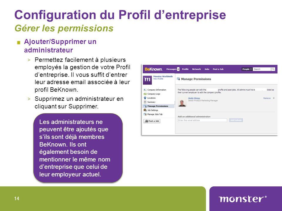 Configuration du Profil d'entreprise Gérer les permissions