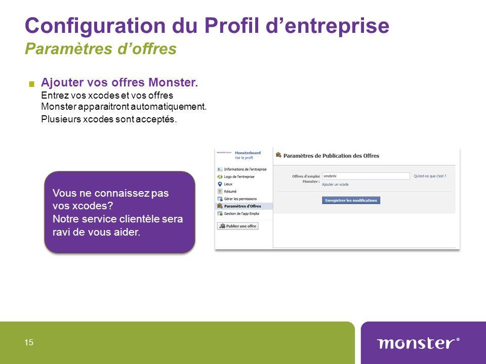 Configuration du Profil d'entreprise Paramètres d'offres