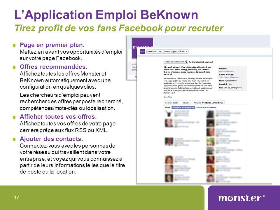 L'Application Emploi BeKnown Tirez profit de vos fans Facebook pour recruter