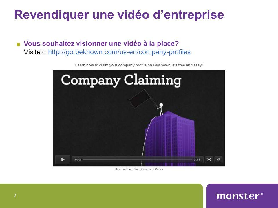 Revendiquer une vidéo d'entreprise