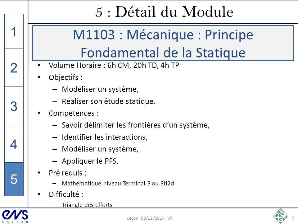 M1103 : Mécanique : Principe Fondamental de la Statique