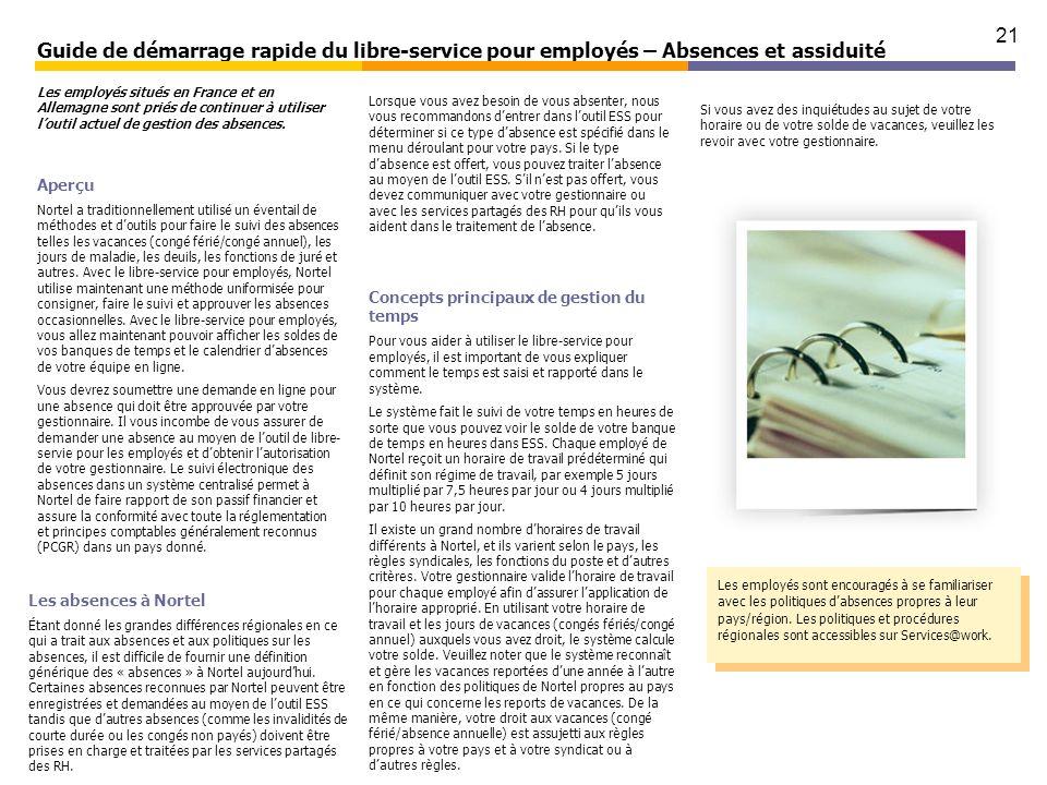 Guide de démarrage rapide du libre-service pour employés – Absences et assiduité