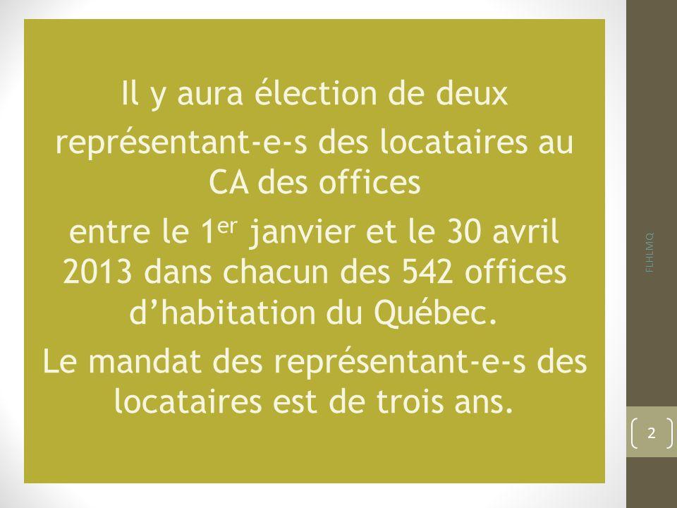 Il y aura élection de deux représentant-e-s des locataires au CA des offices entre le 1er janvier et le 30 avril 2013 dans chacun des 542 offices d'habitation du Québec. Le mandat des représentant-e-s des locataires est de trois ans.