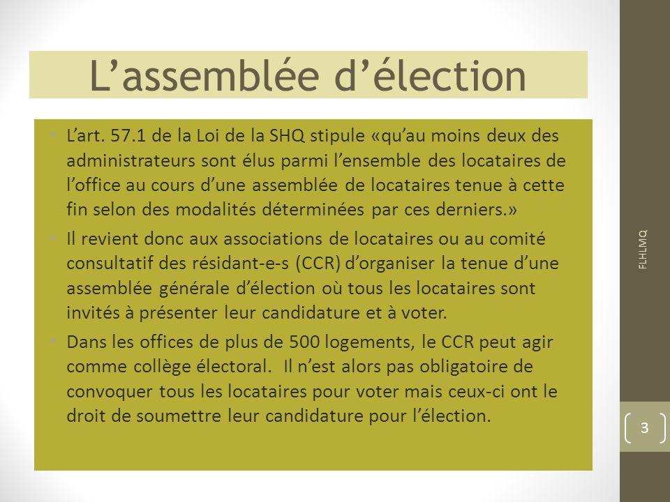 L'assemblée d'élection