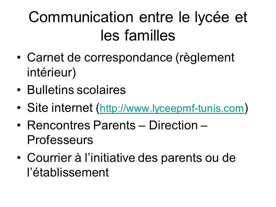 Communication entre le lycée et les familles
