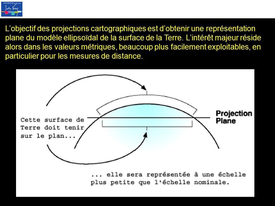 L'objectif des projections cartographiques est d'obtenir une représentation plane du modèle ellipsoïdal de la surface de la Terre.