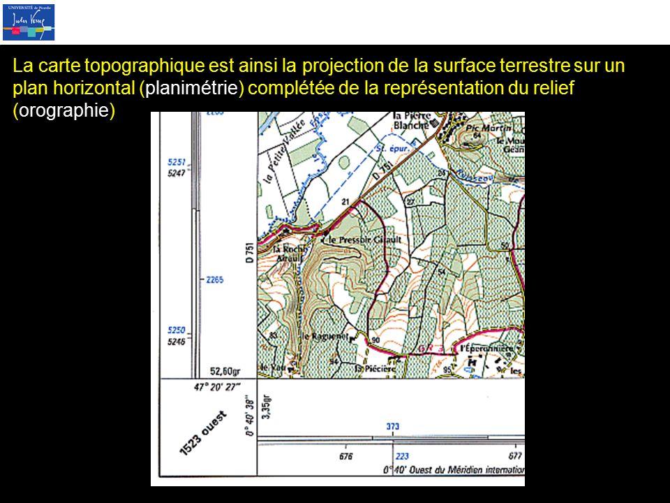 La carte topographique est ainsi la projection de la surface terrestre sur un plan horizontal (planimétrie) complétée de la représentation du relief (orographie)