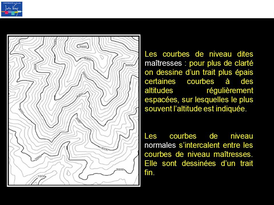 Les courbes de niveau dites maîtresses : pour plus de clarté on dessine d'un trait plus épais certaines courbes à des altitudes régulièrement espacées, sur lesquelles le plus souvent l'altitude est indiquée.