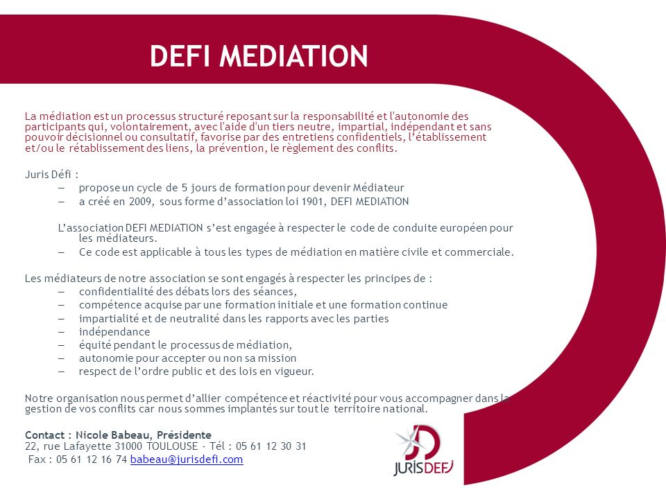 DEFI MEDIATION