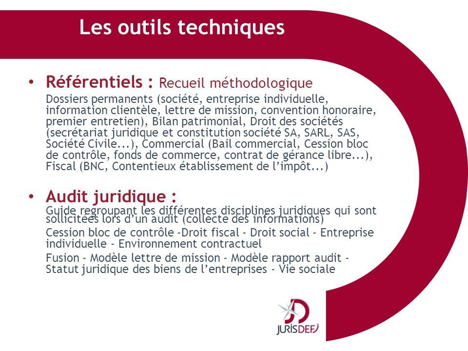 Les outils techniques Référentiels : Recueil méthodologique