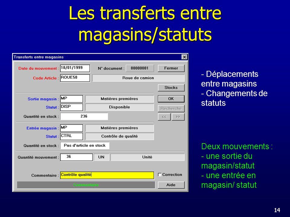 Les transferts entre magasins/statuts
