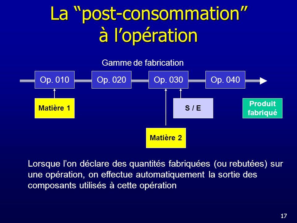 La post-consommation à l'opération