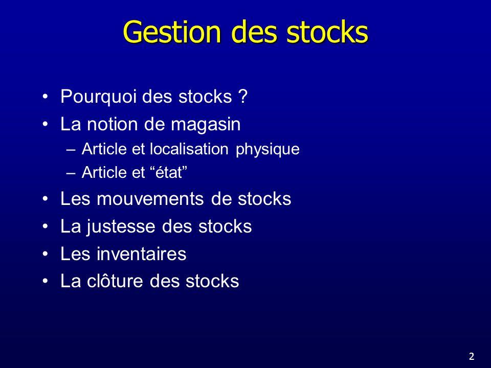 Gestion des stocks Pourquoi des stocks La notion de magasin