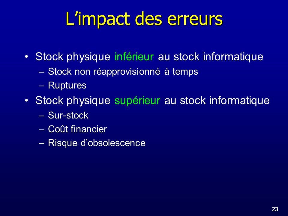 L'impact des erreurs Stock physique inférieur au stock informatique