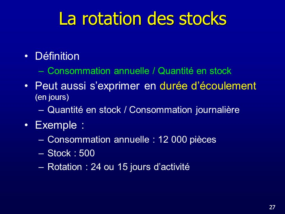 La rotation des stocks Définition