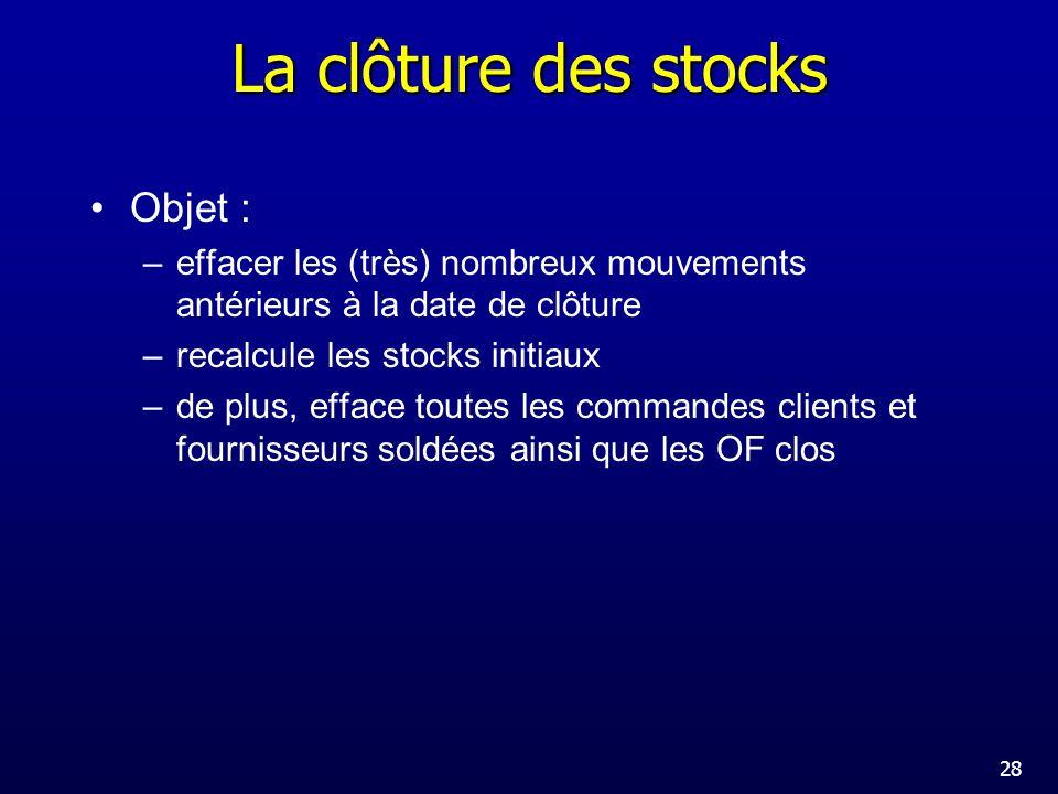 La clôture des stocks Objet :