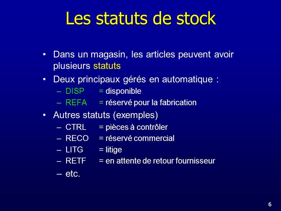 Les statuts de stock Dans un magasin, les articles peuvent avoir plusieurs statuts. Deux principaux gérés en automatique :
