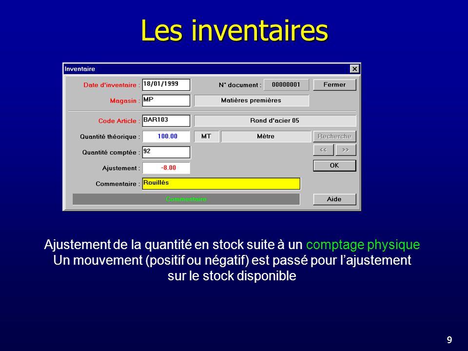 Les inventaires Ajustement de la quantité en stock suite à un comptage physique. Un mouvement (positif ou négatif) est passé pour l'ajustement.